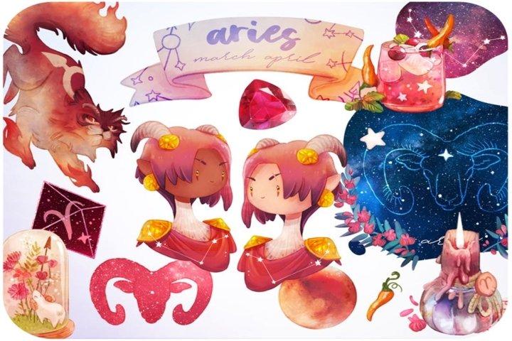 20 Aries Zodiac clipart set Zodiac stickers - Astrology