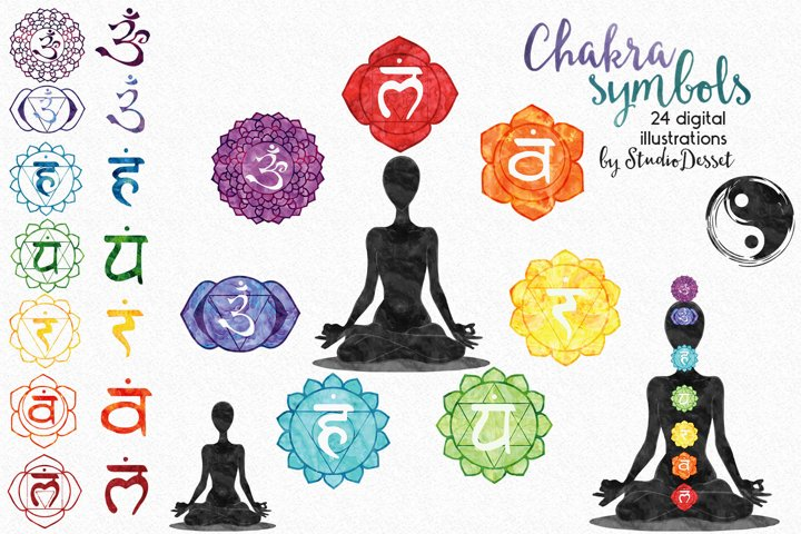 Chakra Symbols - Watercolor Illustrations | Sublimation