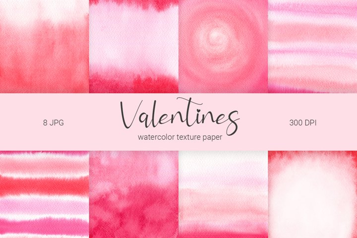 Watercolor Valentines digital papers. Valentine JPG texture