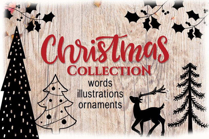 Christmas collection - words, illustrations and ornaments