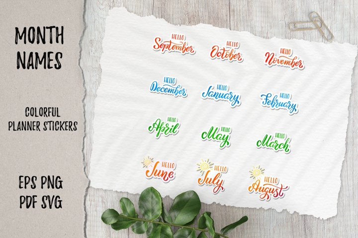 Colorful 12 month planner stickers | EPS|PNG|PDF|SVG