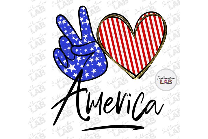 America Patriotic Sublimation Design PNG Peace Love America