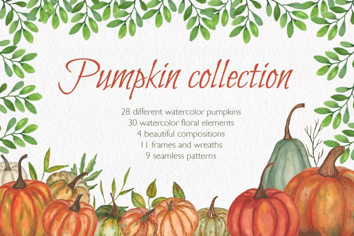 Autumn. Pumpkin collection. Watercolor clipart.