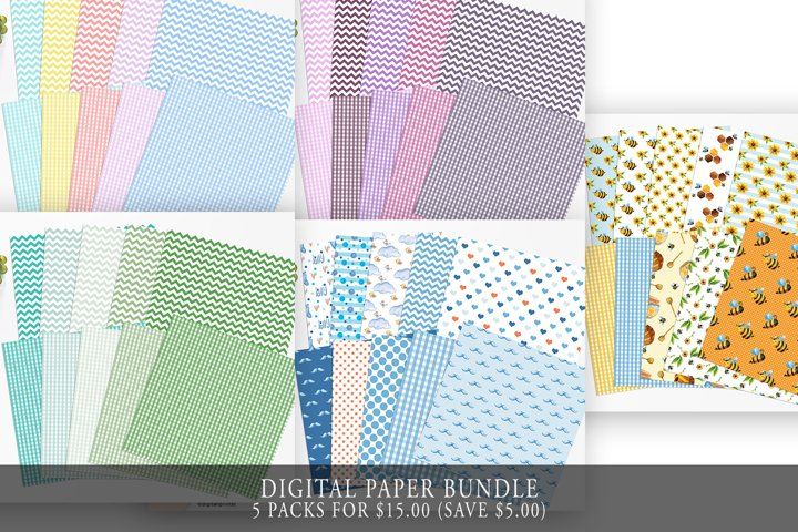 Digital Paper Bundle, Bees, Sunflower, Scrapbook Papers