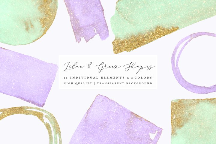 Gold glitter watercolor shapes, glitter lilac, green clipart