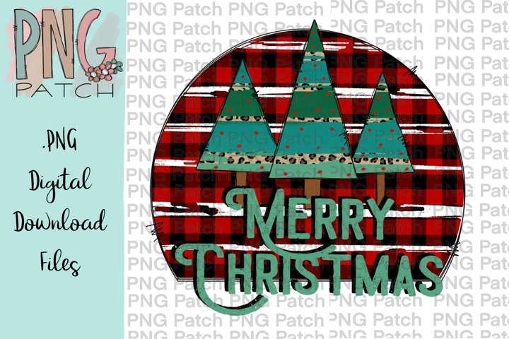 Merry Christmas, Retro Buffalo and Leopard Print PNG File