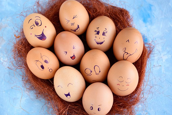 Eggs with different emotions