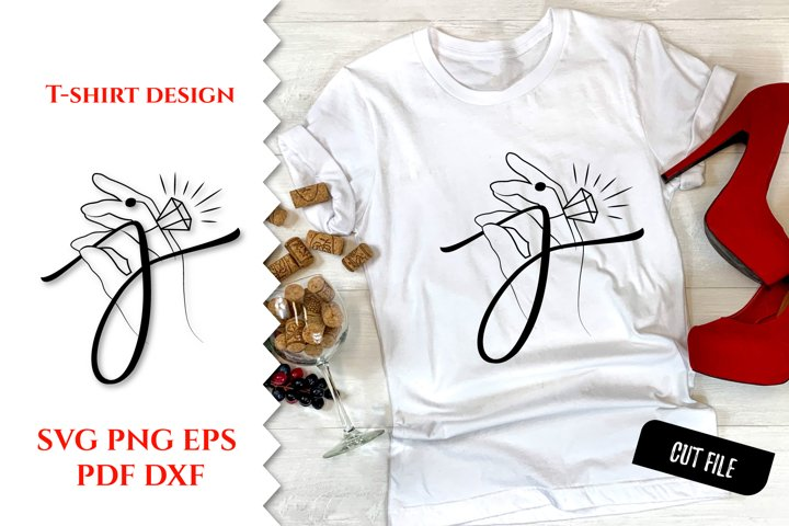 T shirt designs. Line art woman. Calligraphy Jewels. SVG