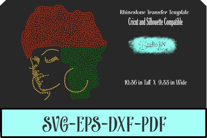 Afro Girl Multi R2 Rhinestone SVG Template - Faith over Fear