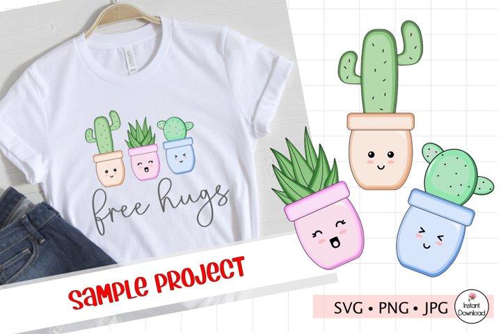 Kawaii Cactus SVG, Cacti Clip Art, Cute Cactus PNG