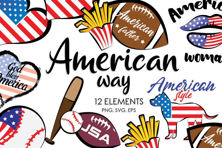 Patriotic Clipart, America, Sublimation Bundle, Baseball