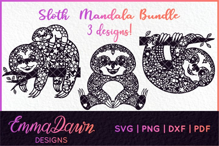 SLOTH SVG BUNDLE MANDALA / ZENTANGLE 3 DESIGNS