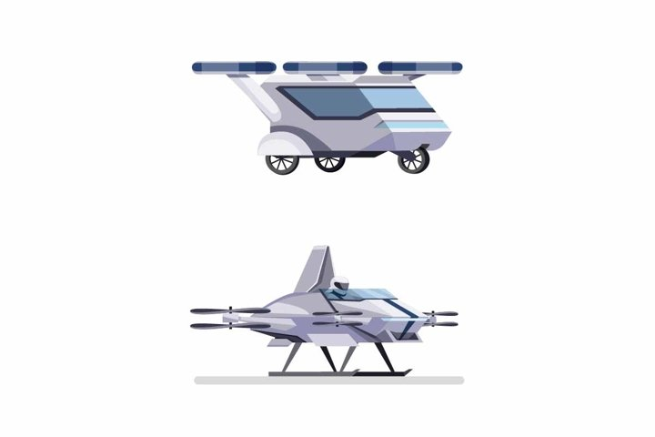 Futuristic flying car drone with passenger concept vector