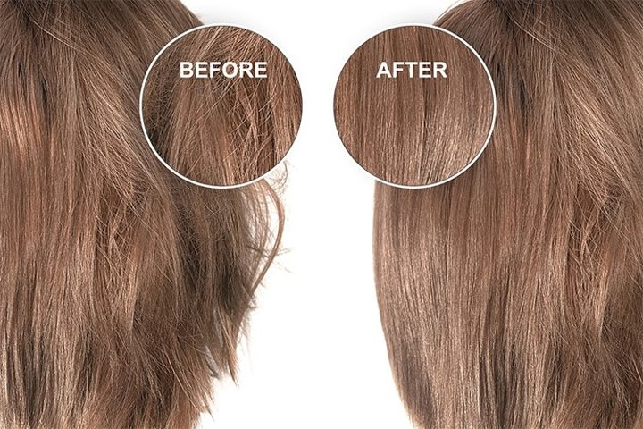 Brown hair before and after treatment, straightening