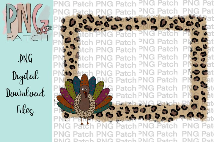 Torn Edge Leopard Print Frame with Turkey, Drink PNG File