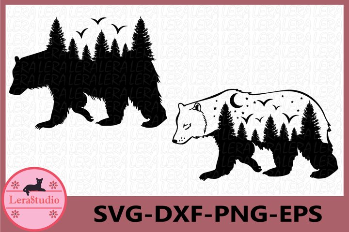 Forest SVG, Bear Svg, Woodland Svg, Mountains Svg, Forest