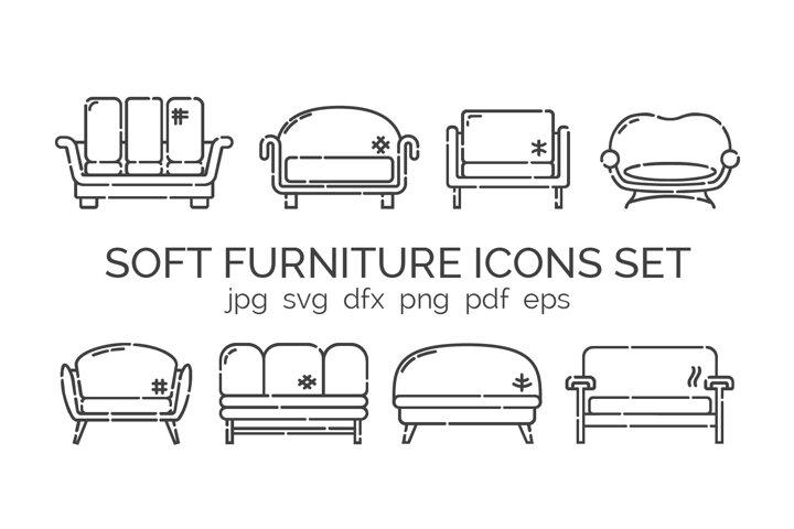 Set comfortable sofas with pillows