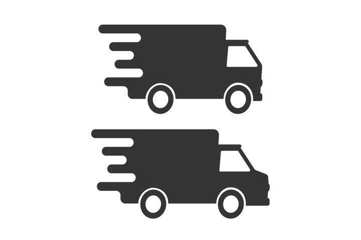 Fast delivery truck icons isolated