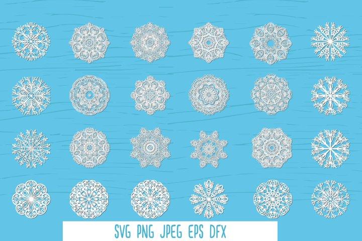 Snowflakes SVG cut files bundle