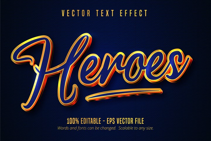 Heroes text, blue color and shiny gold style text effect