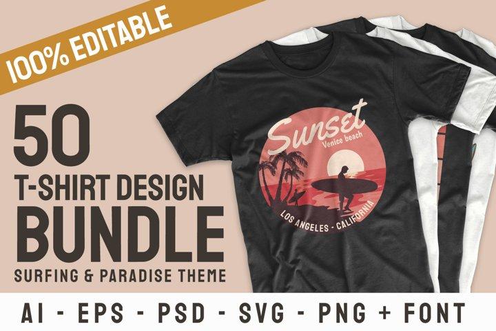 Surfing Paradise & Adventure T-shirt Designs Bundle Vector