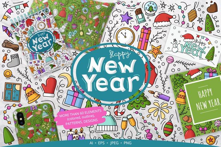 Doodle New Year Big set Vector Clipart