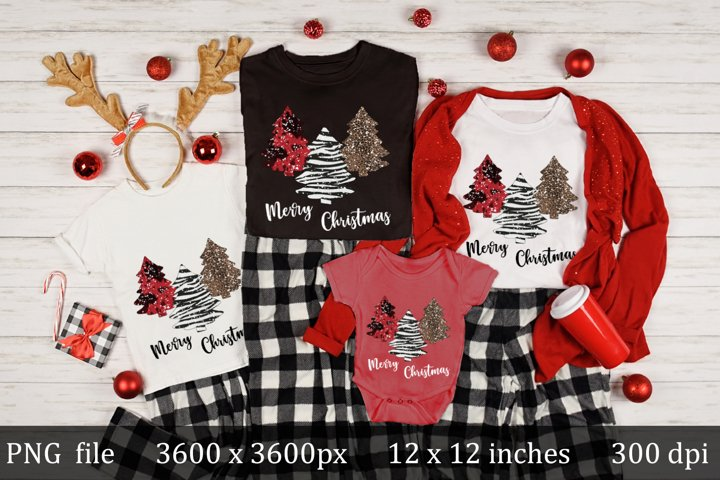 Merry Christmas Trees modern sublimation design