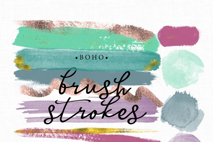Boho Brush Stroke Clip art. Brush Strokes in boho colors and gold. Digital brush strokes and paint blotches 13 altogether