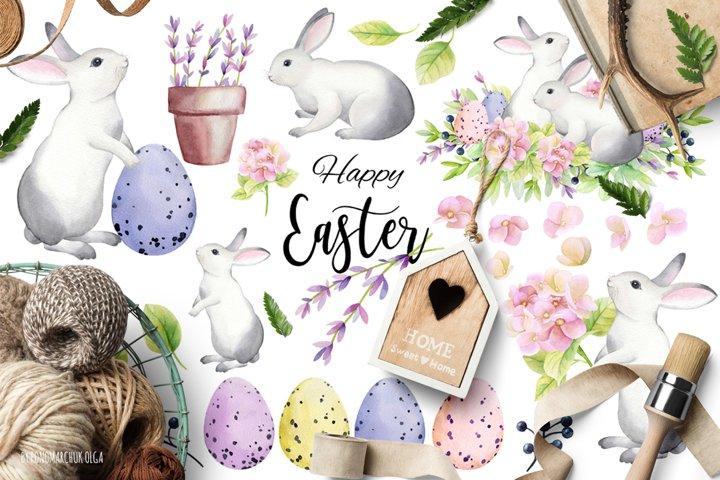 Happy Easter! Watercolor set.