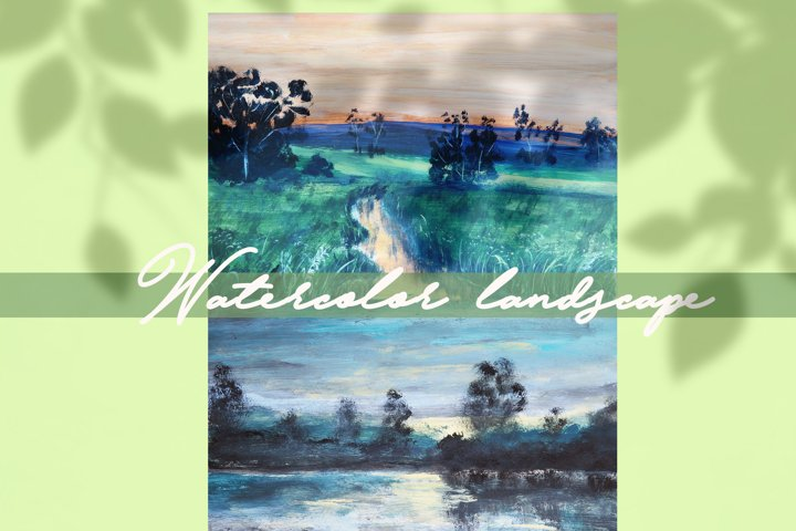 watercolor nature and landscape