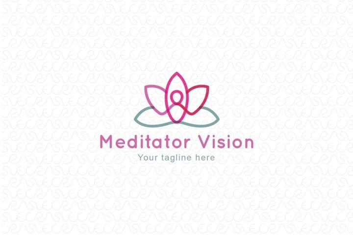 Meditator Vision - Human Figure Stock Logo Template