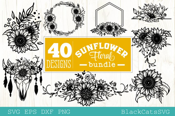 Sunflower frames SVG bundle 40 designs