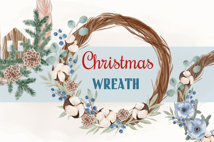 Watercolor Christmas Wreath, Christmas Wreath, Winter png
