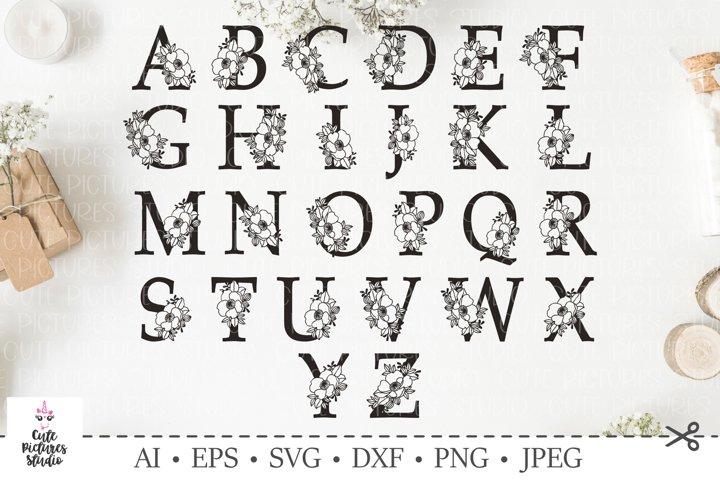 Botanical alphabet svg. Floral letter svg. Bundle SVG, DXF