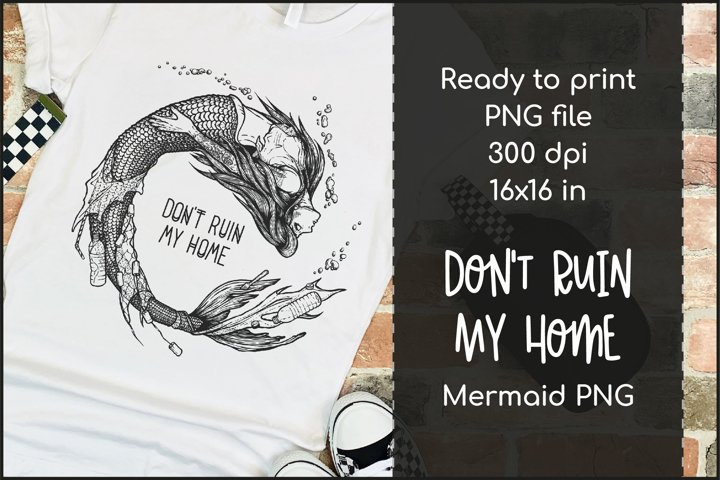 Mermaid T-shirt Design, Ocean Pollution Mermaid PNG