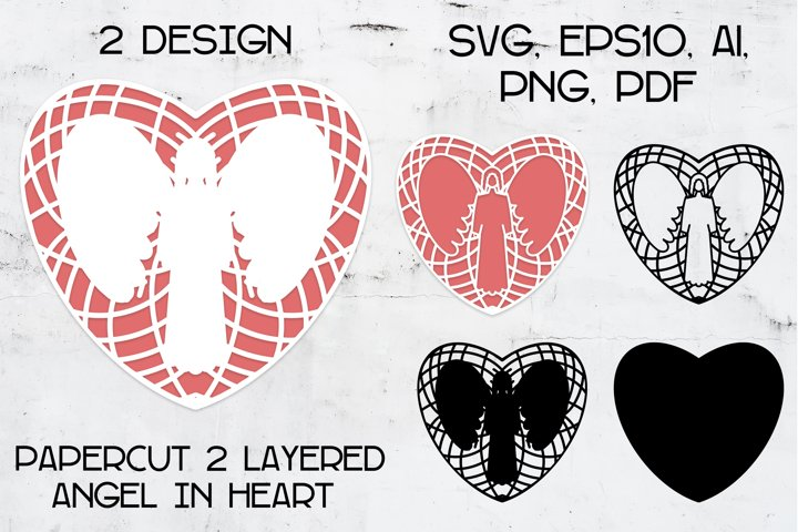 Paper cut | Layered papercut | Angel in Heart
