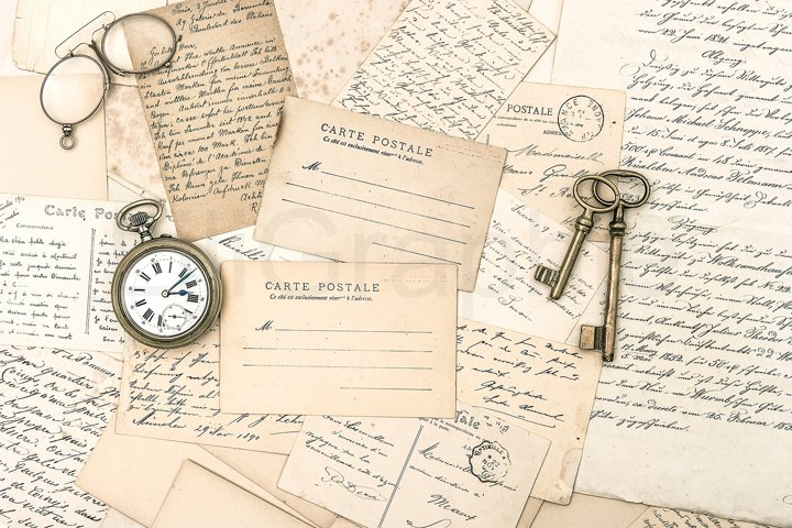 Old letters and postcards, antique accessories and paper JPG