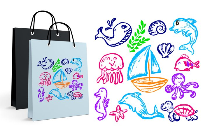 Cute childrens drawing. Jellyfish, octopus, whale, dolphin