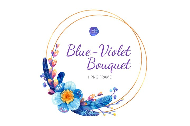 Clipart of Blue Wedding Invitation with Golden Round Frame
