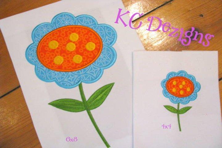 Blue Flower Machine Applique Embroidery Design