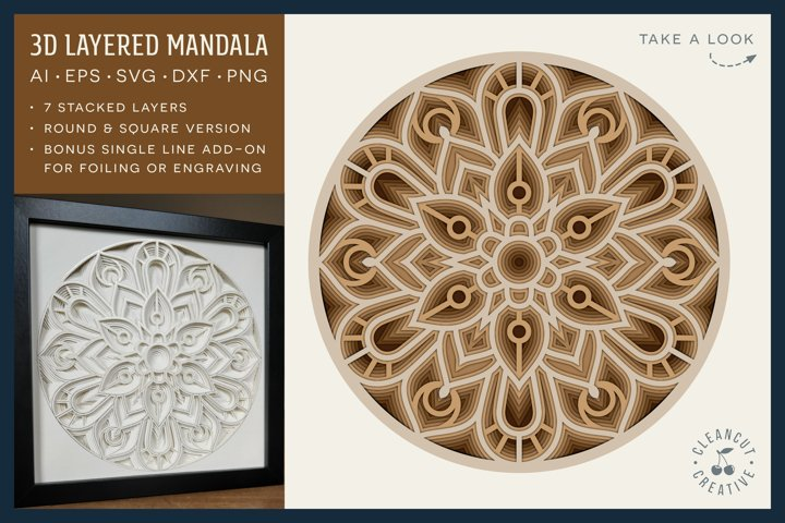 3D layered MANDALA svg | stacked paper | laser cut wood art