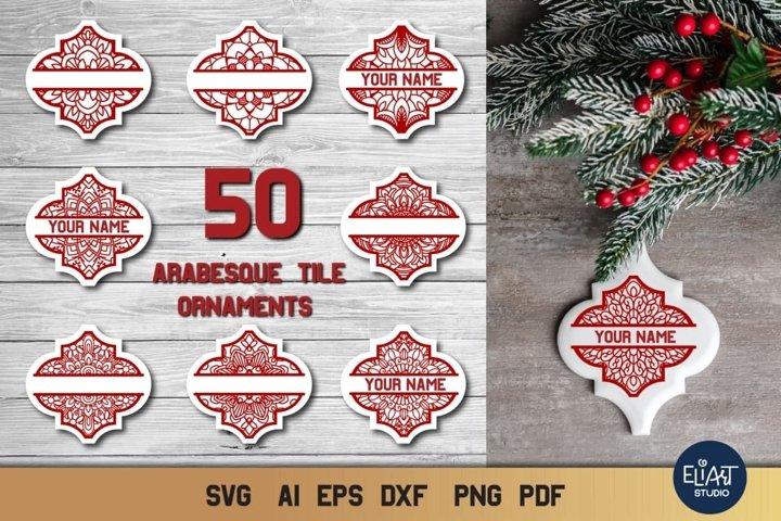 Arabesque Tile Ornament SVG Bundle | Christmas Ornaments