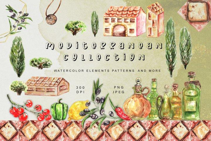 Watercolor Mediterranean Clipart. Essential Oils. Vegetables