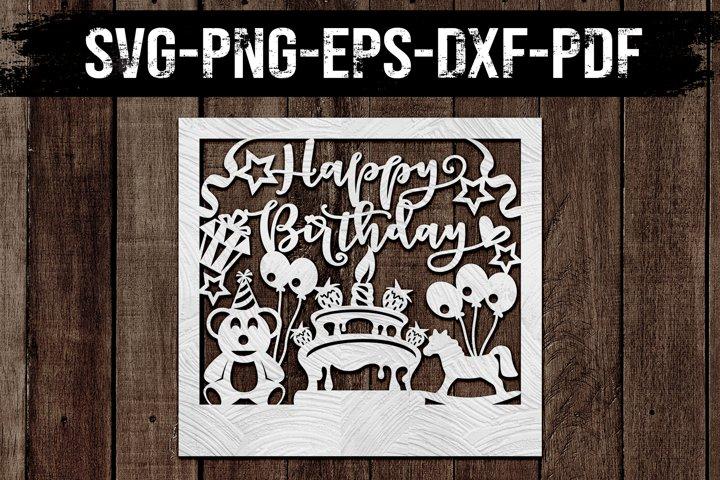Customizable Birthday Papercut Template, Clipart, SVG DXF
