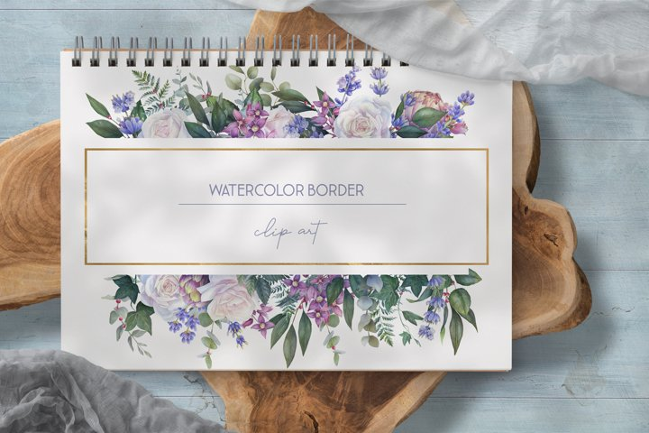 Watercolor floral border clipart, white rose wedding png