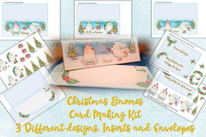 Christmas Gnomes Card Making Kit. 3 designs envelopes