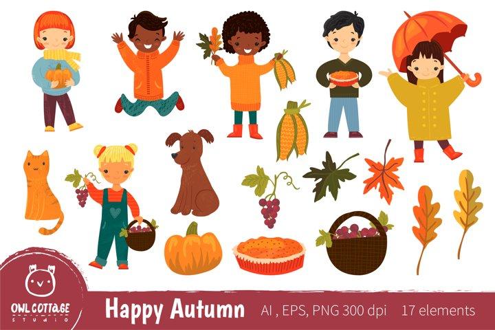 Happy Autumn Clipart, Set of happy smiling children