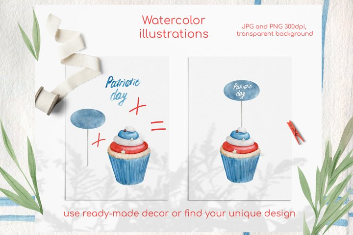 Watercolor 4th of july cupcakes clipart set example 1