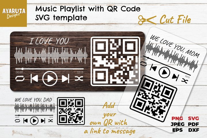 Music Playlist with QR code SVG template, Gift Idea