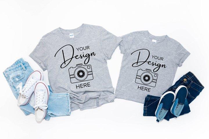 Gildan 64000 & 64500B Mockup Softstyle Sport Grey T-shirt